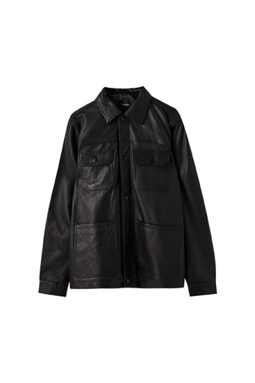Black leather jacket with pockets