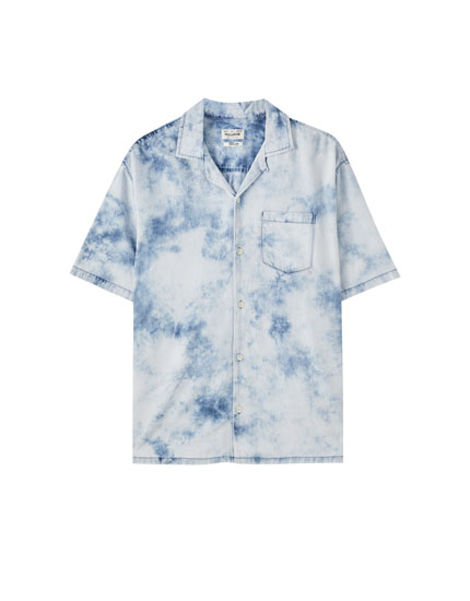 Tie-dye denim shirt