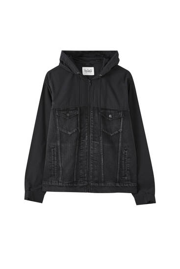 Black denim jacket with panelled detail