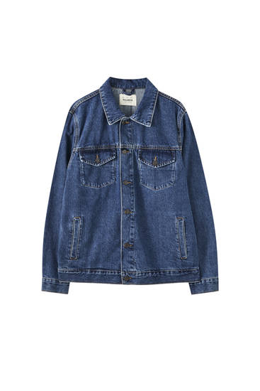 Blue denim oversized trucker jacket