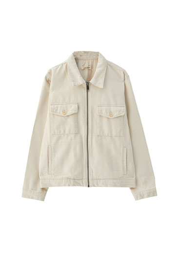 Beige jacket with front pockets