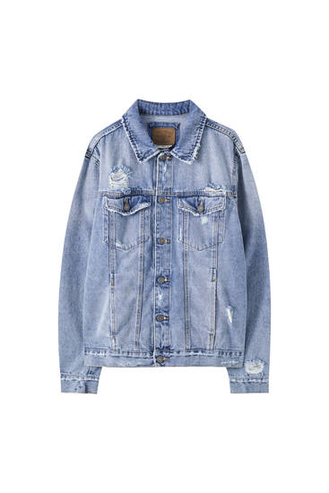 Ripped long sleeve denim jacket