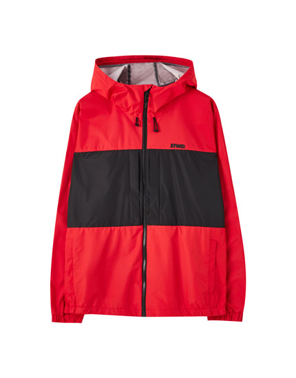 Water-resistant colour block jacket