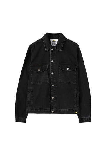 Black Smiley denim jacket