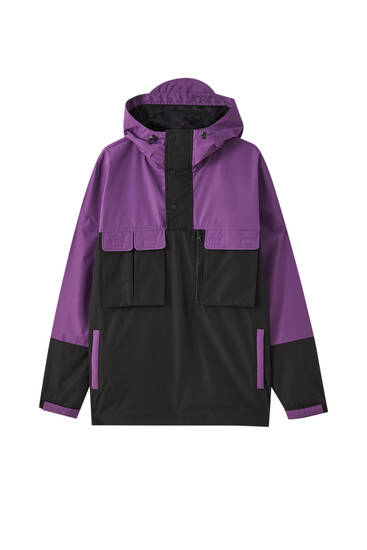 Violet colour block anorak jacket