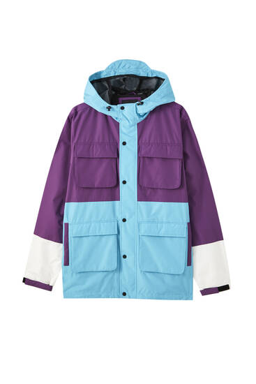 Parka utility color block cor