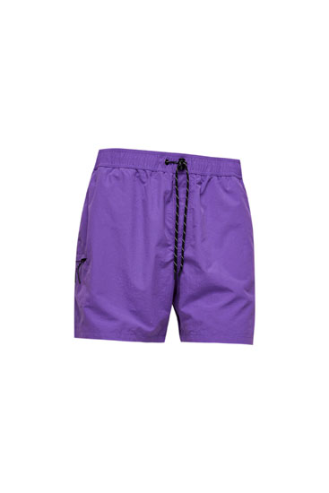 Plain swimming trunks with cargo pocket