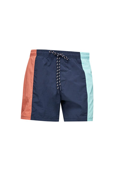 Swimming trunks with vertical colour block