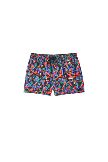 Blue geometric print swimming trunks
