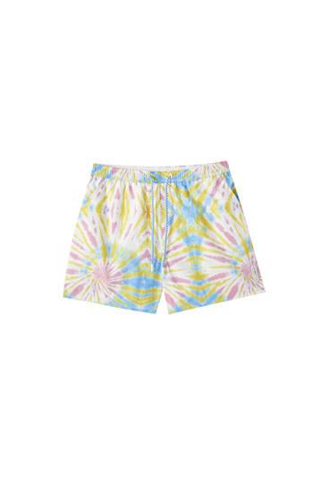 Tie-dye print swimming trunks