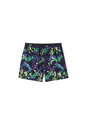 Graffiti-style print swimming trunks