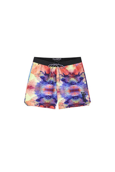 Multicoloured print swimming trunks