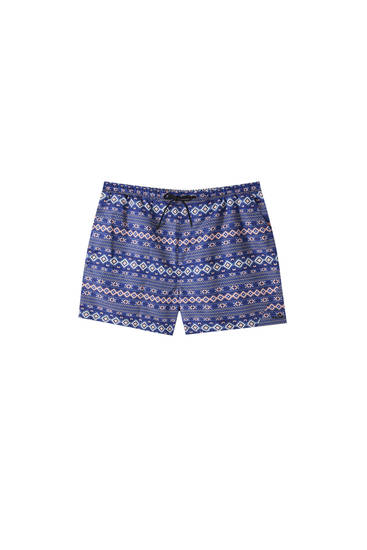 Orange geometric print swimming trunks