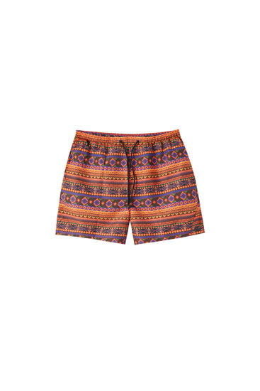 Geometric print swimming trunks