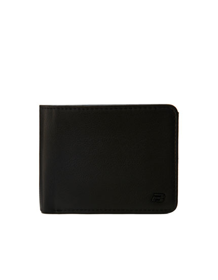 Faux leather wallet with raised logo design