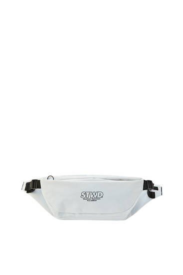 White padded belt bag with logo