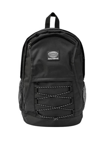 Black backpack with elastic bands