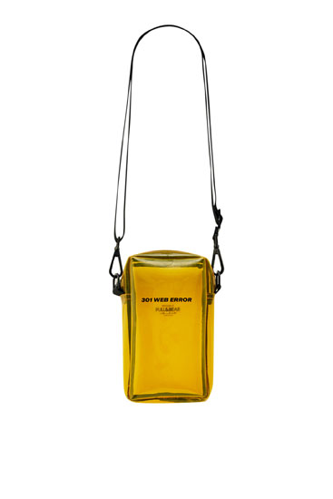 Transparent yellow crossbody bag with slogan
