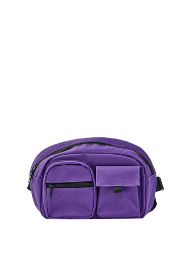 Purple chest bag with multiple pockets