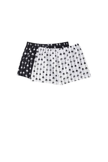 2-pack of poplin boxers with a palm tree print