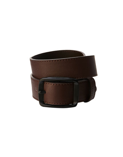 Belt with black rectangular buckle