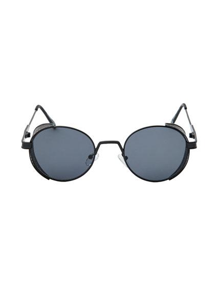 Gafas sol negras montura metálica