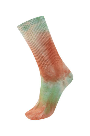 Pink tie-dye sports socks