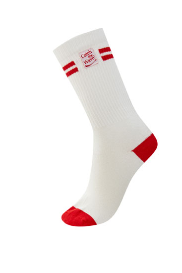 Sports socks with red details