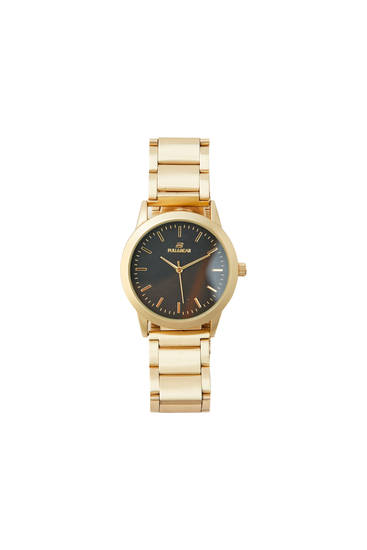 Watch with gold-coloured strap