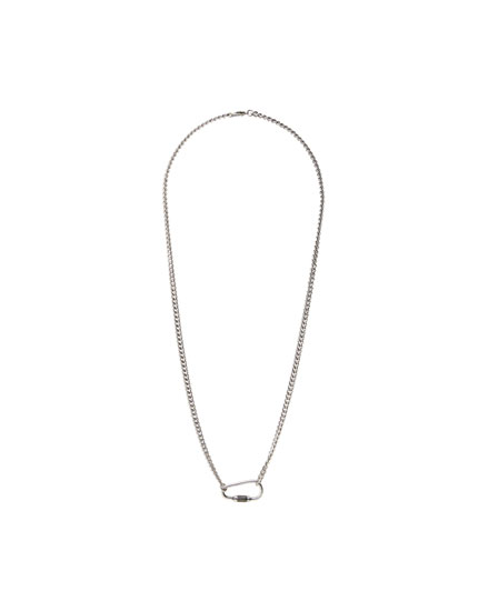Silver-coloured necklace with lobster clasp