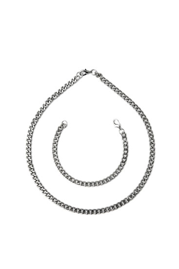 Silver-coloured necklace and bracelet pack