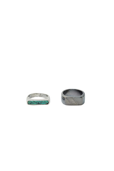 Pack anillos plateados sello
