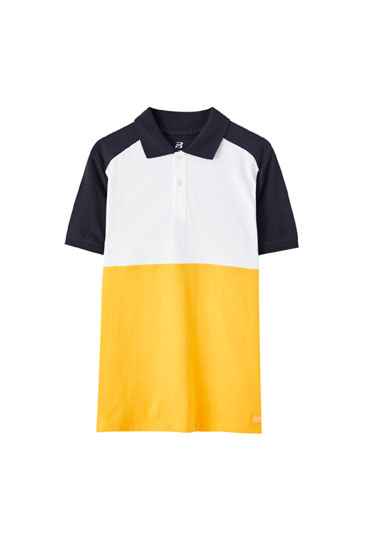Panelled polo shirt with raglan sleeves