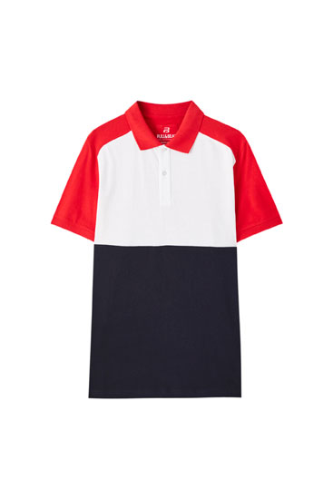 Polo color block manches raglan