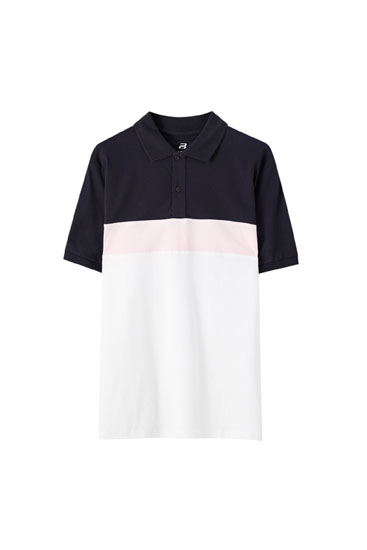 Panelled polo shirt with short sleeves