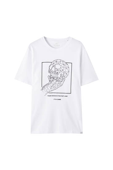 White T-shirt with hand holding a skull print