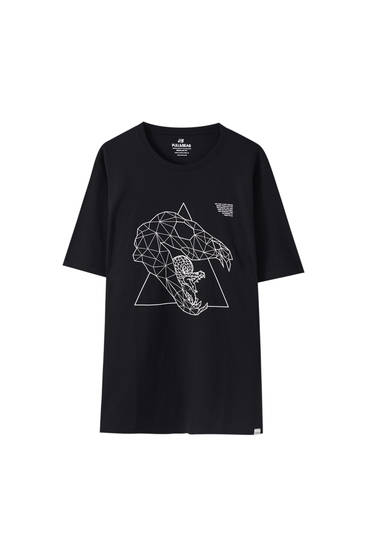 T-shirt noir triangle serpent