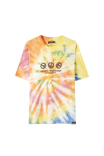 Tie-dye T-shirt with peace logo