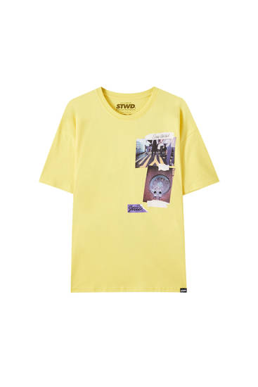 Yellow T-shirt with photo illustration
