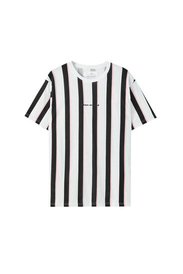 Vertical striped T-shirt with slogan