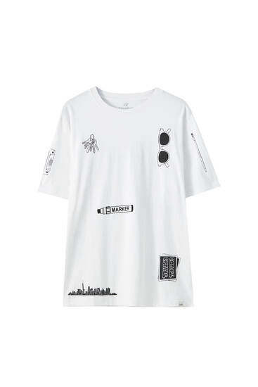White T-shirt with marker illustration