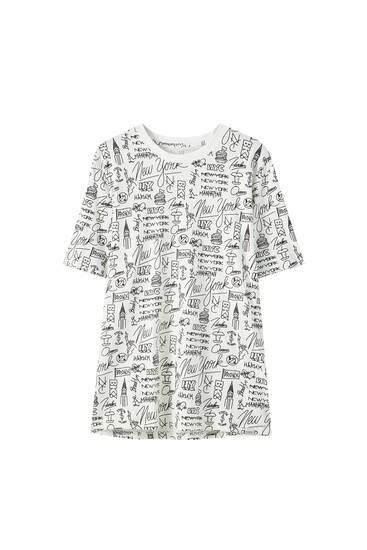 "White ""New York"" print T-shirt"