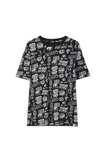 Schwarzes Shirt mit Print