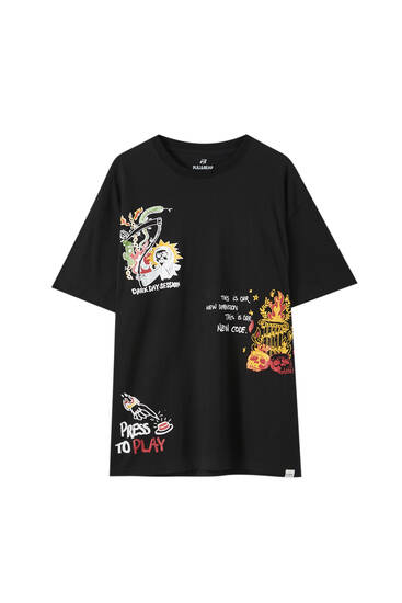 Longline slogan T-shirt with illustration