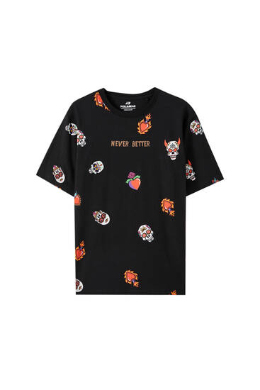Skeleton heart slogan T-shirt