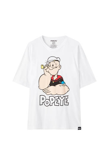 Oversized white Popeye T-shirt