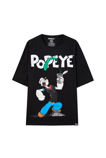 Sort Popeye-T-shirt i overstørrelse
