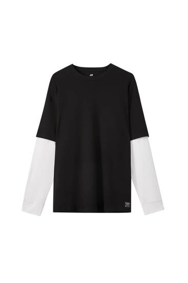 Contrast double sleeve T-shirt