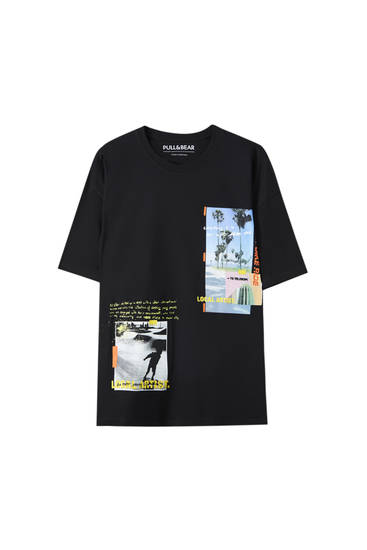 Black oversize T-shirt with a photograph print
