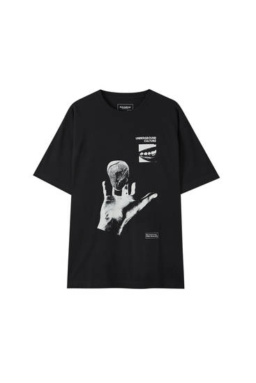 Black T-shirt with hand illustration